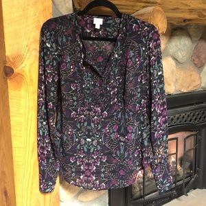 Converse purple and teal floral print blouse